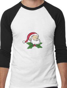 Santa Claus Father Head Christmas Holly Cartoon Men's Baseball ¾ T-Shirt