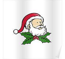 Santa Claus Father Head Christmas Holly Cartoon Poster