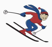 Skier Skiing Side Isolated Cartoon by patrimonio