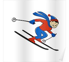Skier Skiing Side Isolated Cartoon Poster
