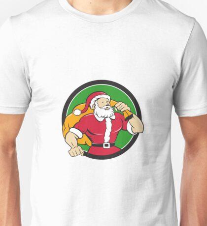 Super Santa Claus Carrying Sack Circle Cartoon Unisex T-Shirt