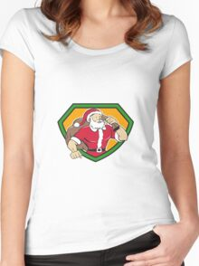 Super Santa Claus Carrying Sack Shield Cartoon Women's Fitted Scoop T-Shirt