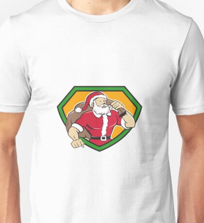 Super Santa Claus Carrying Sack Shield Cartoon Unisex T-Shirt