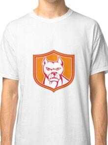 White Pitbull Dog Mongrel Head Shield Cartoon Classic T-Shirt