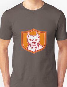 White Pitbull Dog Mongrel Head Shield Cartoon Unisex T-Shirt