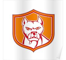 White Pitbull Dog Mongrel Head Shield Cartoon Poster