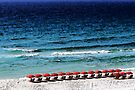 White Sand, Red Umbrellas by AuntDot
