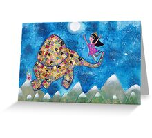 Missy and Elephant fly to the Moon Greeting Card
