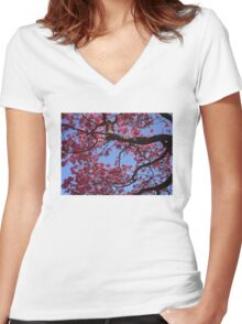 Pink Blossoms, Tabebuia Tree Women's Fitted V-Neck T-Shirt