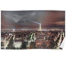 Paris from Arc de Triumph Night Poster