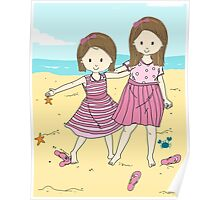 Sisters at the Beach Poster