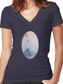 Water Drops Women's Fitted V-Neck T-Shirt