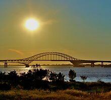 Summer Sunset Over Robert Moses Beach Bridge by Gilda Axelrod