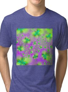 Green Yellow and Pink Abstract Flowers Tri-blend T-Shirt