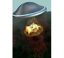 Funny Pig UFO Abduction Photographic Print