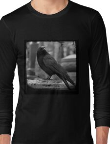 Black And White Crow Long Sleeve T-Shirt