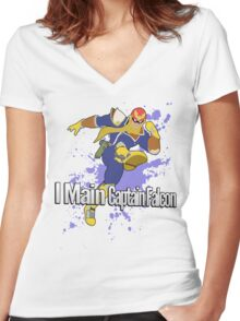 I Main Captain Falcon - Super Smash Bros. Women's Fitted V-Neck T-Shirt