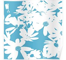 Silhouette of Flowers - Cerulean Blue and White Poster