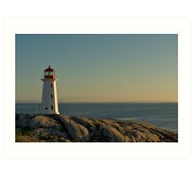 Peggy's Cove lighthouse on a Sunday afternoon Art Print