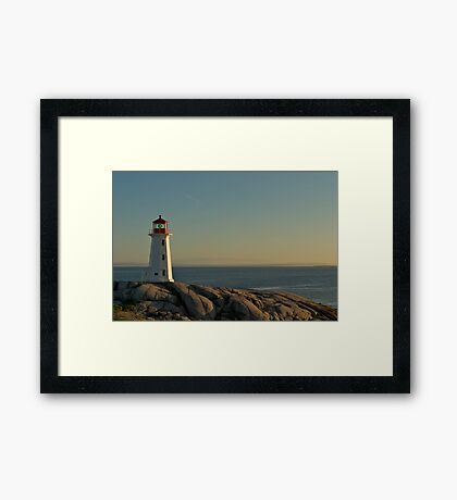 Peggy's Cove lighthouse on a Sunday afternoon Framed Print