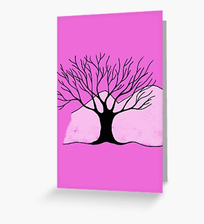 Tree and Mountain - Simple but unique drawing Greeting Card