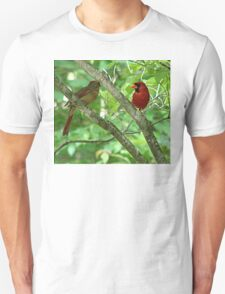 Northern Cardinal Pair - female and male Unisex T-Shirt