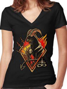 Houndoom Women's Fitted V-Neck T-Shirt