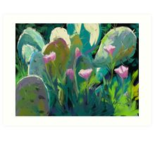 Cactus and California Poppies Art Print