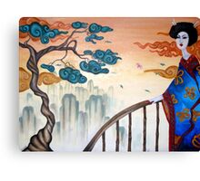 Geisha and the Mountains Canvas Print