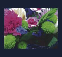 Green Pink and Purple Flower Bouquet One Piece - Short Sleeve