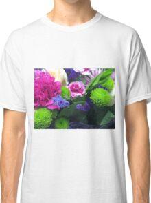 Green Pink and Purple Flower Bouquet Classic T-Shirt