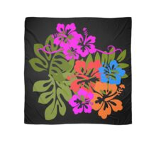 Bright Hibiscus on Black Scarf