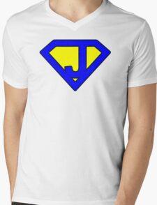 J letter Mens V-Neck T-Shirt