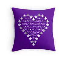 NOLA Fleur de Lis Heart (White on Purple) Throw Pillow