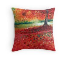 "Landscape VII - 6x6"" oil painting Throw Pillow"