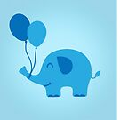 Sweet Funny Baby Elephant with Balloons by badbugs