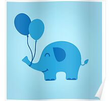 Sweet Funny Baby Elephant with Balloons Poster