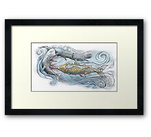 Nautilus v Sperm Whale Framed Print