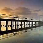 Pooley Bridge Pier in Morning Mist by AJ Airey