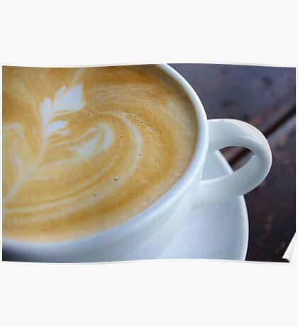 Closeup shot of foamy crema latte art Poster