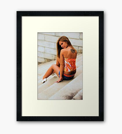 White heels Framed Print