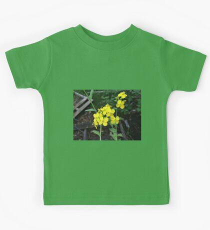 Yellow Mustard Green Flowers Kids Tee