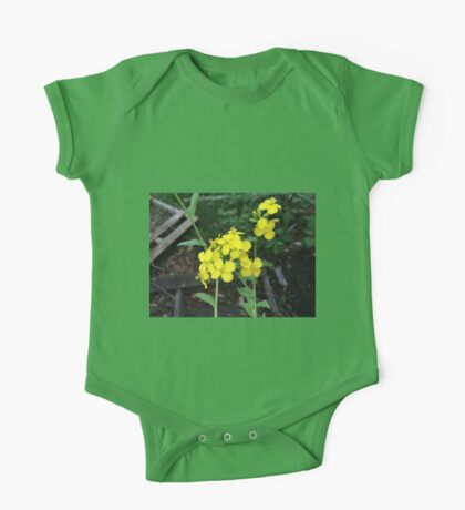 Yellow Mustard Green Flowers One Piece - Short Sleeve