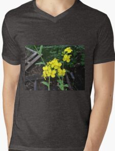 Yellow Mustard Green Flowers Mens V-Neck T-Shirt