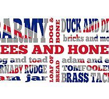 Union Jack, Cockney Rhyming Slang by piedaydesigns