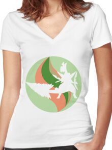 Mega Charm Mega Sceptile Women's Fitted V-Neck T-Shirt