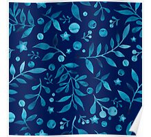 - Azure watercolor pattern (deep blue) -  Poster