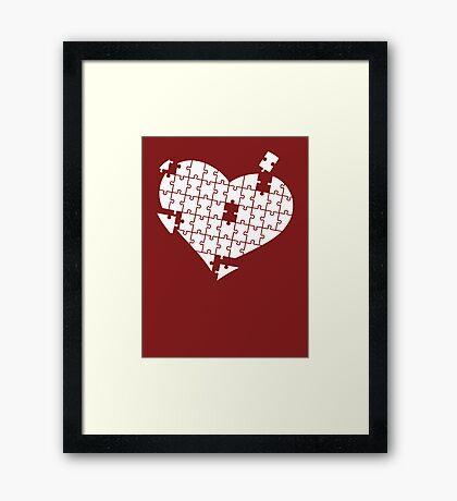 Heart Puzzle White Framed Print