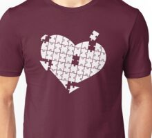 Heart Puzzle White Unisex T-Shirt