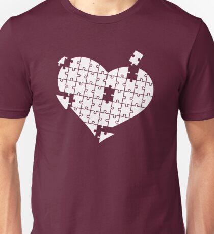 Heart Puzzle White Unisex T-Shirt